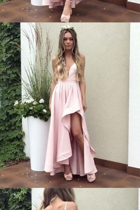 Simple pink satin long prom dress, pink evening dress