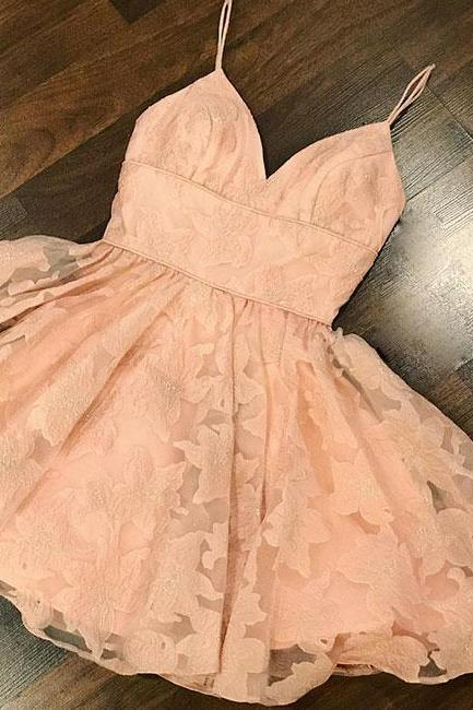 Pink sweetheart lace short prom dress, pink homecoming dress