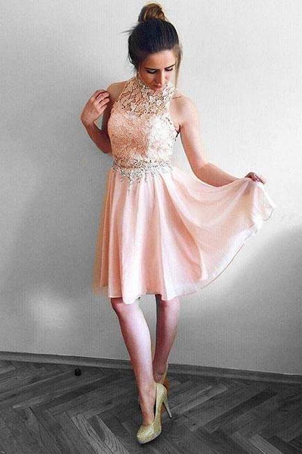 Pink round neck lace chiffon short prom dress, pink homecoming dress