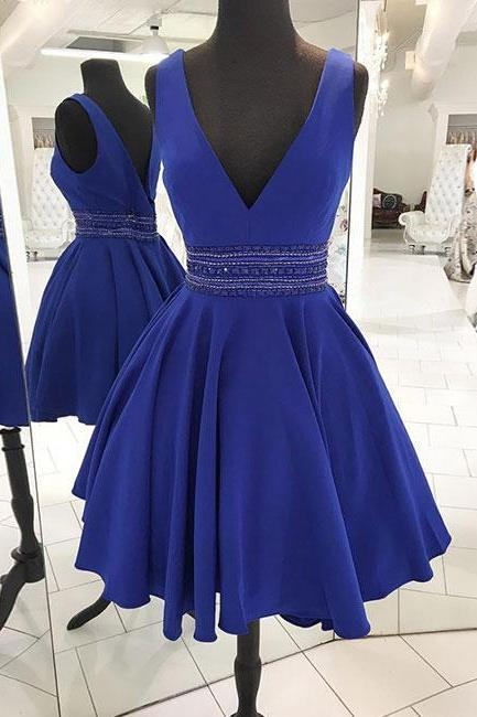 Blue v neck satin short prom dress, blue homecoming dress