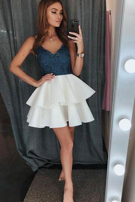 Cute v neck lace short prom dress, cute homecoming dress