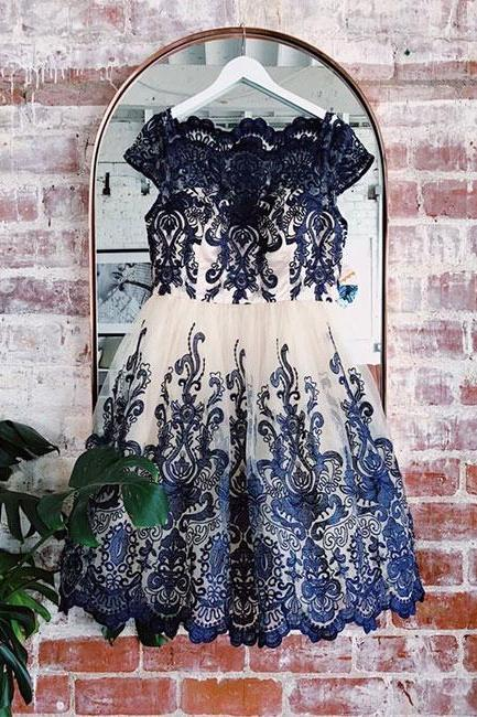Blue lace applique short prom dress, blue bridesmaid dress