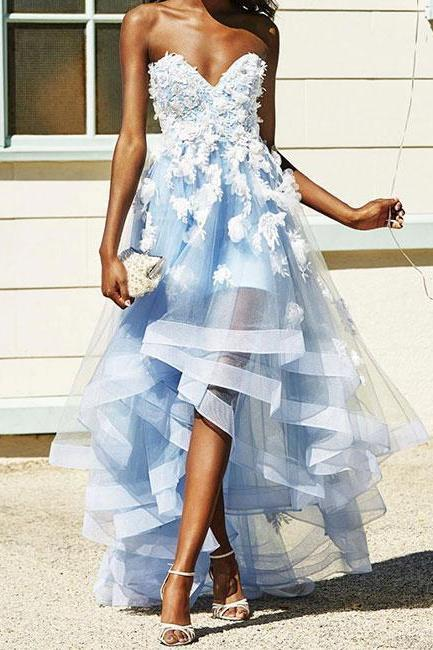 Blue sweetheart neck lace tulle prom dress, evening dress