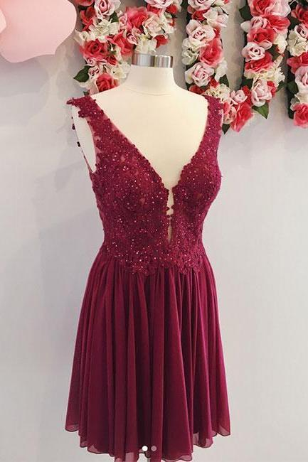Burgundy v neck chiffon lace short prom dress, homecoming dress