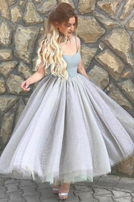 Simple sweetheart neck tulle tea Length prom dress, evening dress