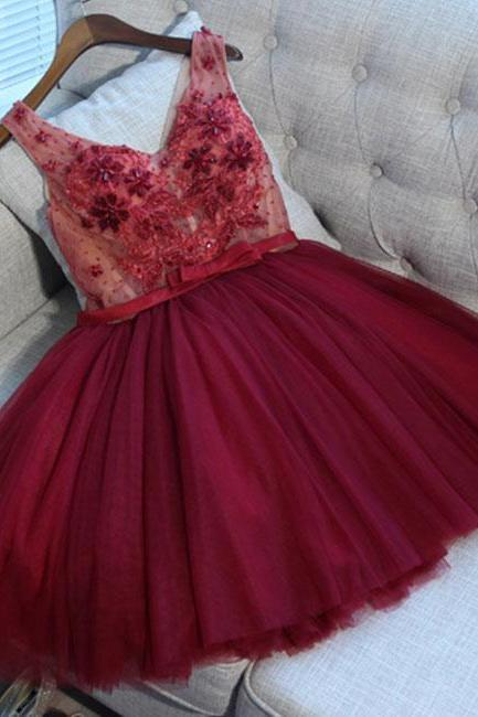 Burgundy v neck tulle applique short prom dress, burgundy homecoming dress