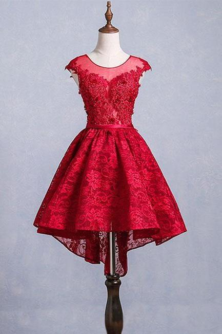 Cute burgundy lace short prom dress, burgundy homecoming dress
