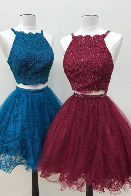 Cute two pieces lace tulle beads short prom dress, lace homecoming dress