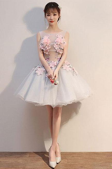 Gray round neck tulle lace applique short prom dress, homecoming dress