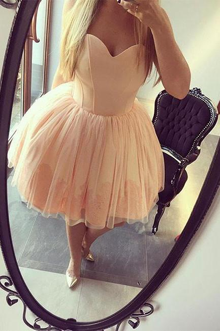 champagne sweetheart neck tulle short prom dress, homecoming dress