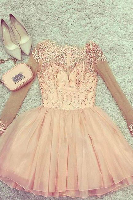 Cute pink tulle short prom dress, pink homecoming dress