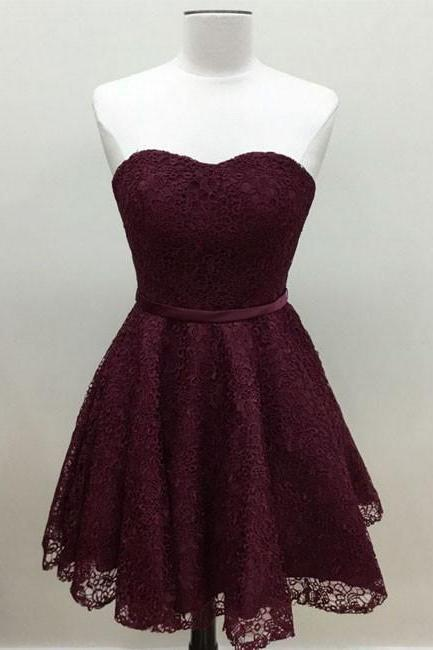 Cute burgundy lace short prom dress, burgundy short homecoming dress