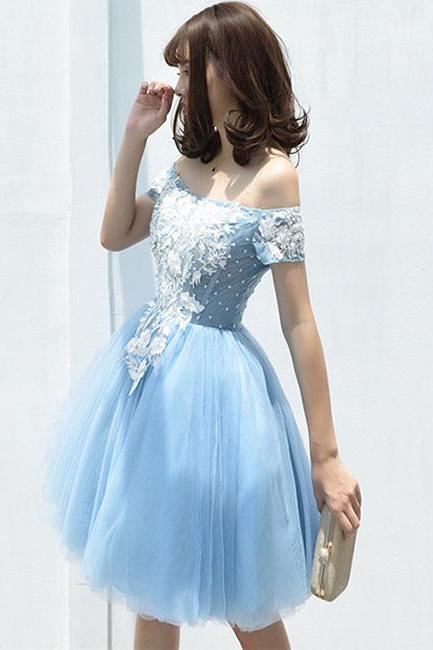 Cute tulle blue lace applique short prom dress, cute homecoming dress