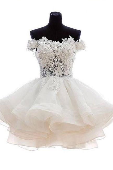 White sweetheart lace applique short prom dress, cute white homecoming dress