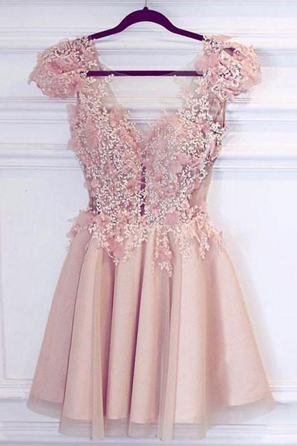 pink v neck short prom dress, cute homecoming dress