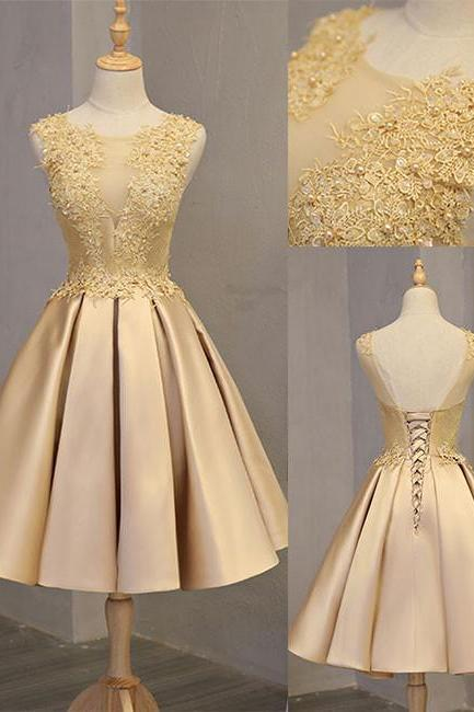 Cute gold lace short prom dress, cute gold homecoming dress