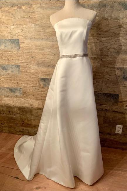 Ivory Strapless Satin Waist Embellished Gown Formal Wedding Dress,PL0208
