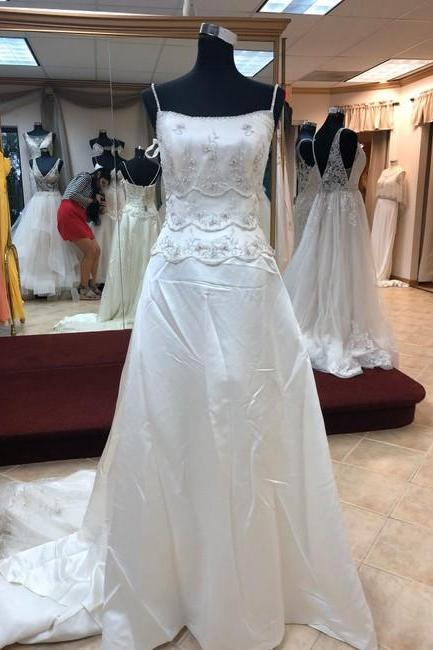 Ivory/Silver Satin Gown Formal Wedding Dress,PL0210