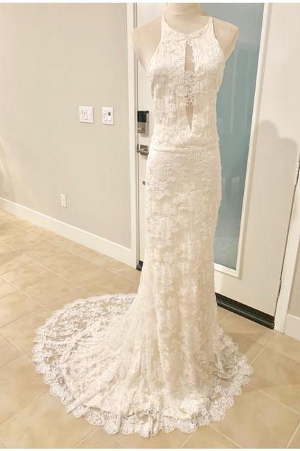 Ivory Anastasia French Lace Halter Gown Formal Wedding Dress,PL0213