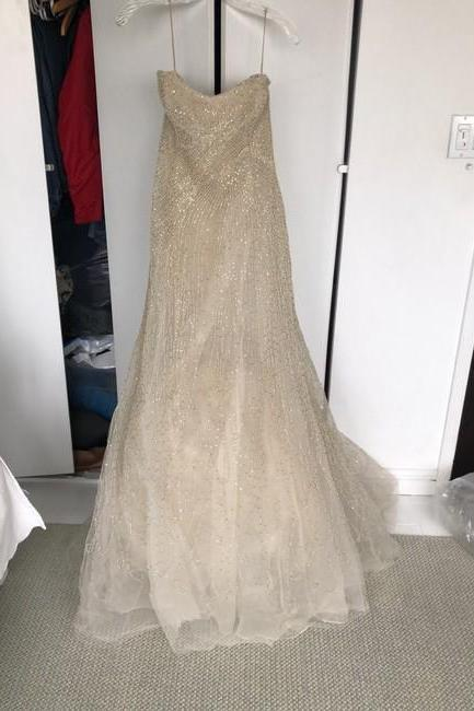Creme Silk Beaded Gown Formal Wedding Dress,PL0218