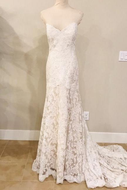 Lace Strapless Formal Wedding Dress,PL0219