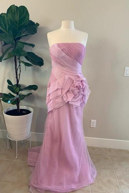 Pink Silk Organza Strapless Gown Formal Wedding Dress,PL0240