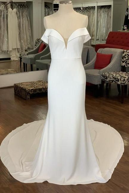 Ivory Crepe Formal Wedding Dress,PL0242