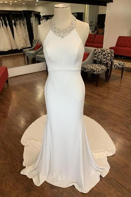 White Crepe Dawson Formal Wedding Dress,PL0243