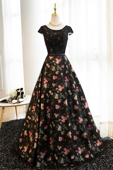 Lace Black Ball Gown Cap Sleeves Printed Fabric Formal Prom Dresses Evening Party Dress,PL0313