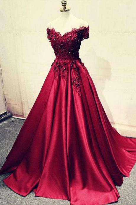 Fashion Off the Shoulder Lace Appliques Burgundy Bead Prom Dresses Formal Evening Gown Dress ,PL0364