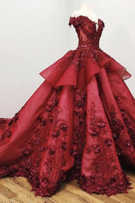 Luxurious Burgundy Lace Ball Gown 3D Floral Prom Dresses Formal Evening Quinceanera Dress,PL0380