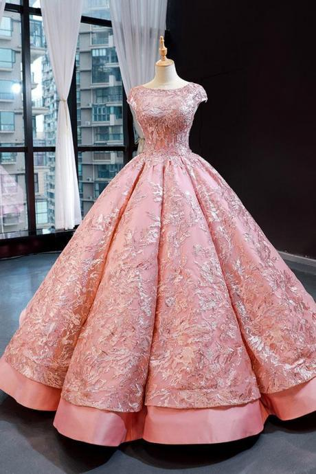 Pink Sparkly Short Sleeves Ball Gown Evening Dress, PL0467