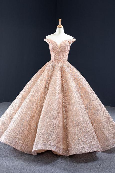 Sparkly Rose Gold Formal Ball Gown Evening Dress,PL0468