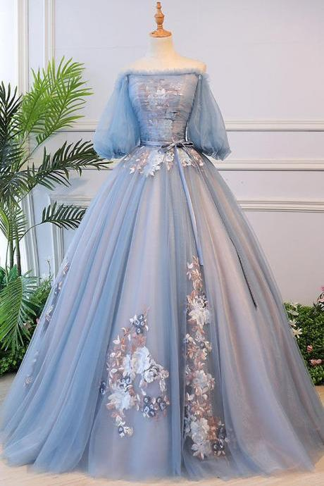 Victorian Vintage Style Long Dusty Blue Evening Dress ,PL0472