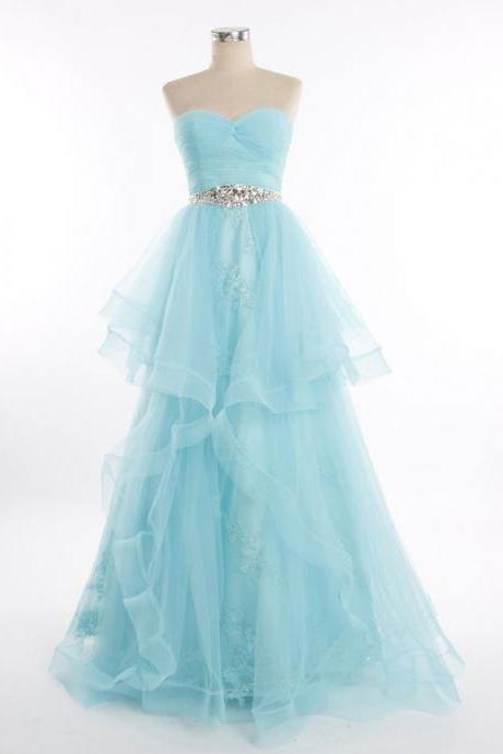 Blue Strapless Tulle Lace Prom Formal Pageant Dress,PL0512