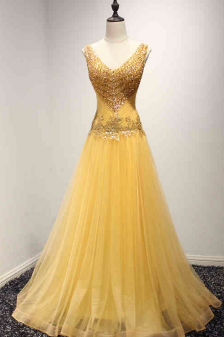 Real Picture Yellow Long Evening Party Dresses Beading Lace Up Black Girl African Prom Formal Gowns ,PL0579