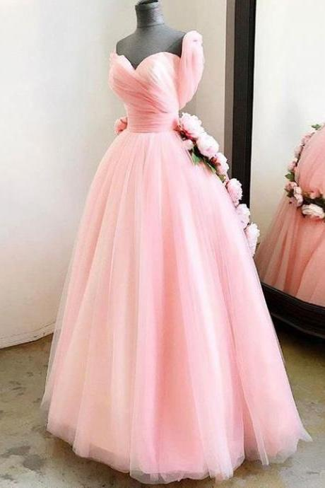 Pink Tulle Prom Dress Cheap Long Plus Size Sweetheart Prom Dress ,PL0674