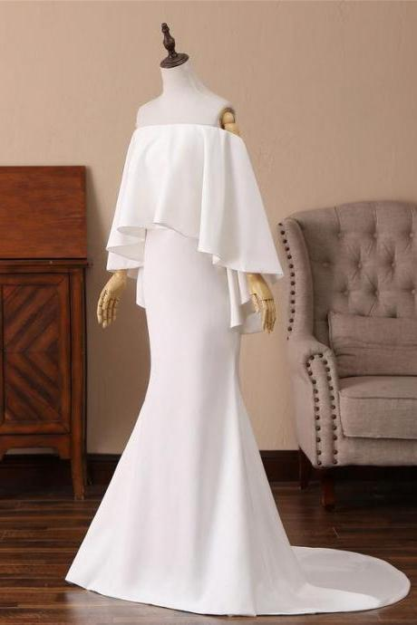 White Memaid Long Formal Dress,PL0777