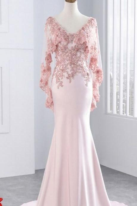 Lace mermaid prom dress, long party and gauze shawl formal evening dress,PL0900