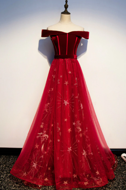 Burgundy Tulle Velvet Off the Shoulder Prom Dress,PL1003