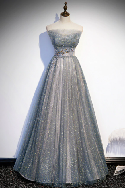 Silver Gray Tulle Sequins Strapless Beading Prom Dress,PL1091