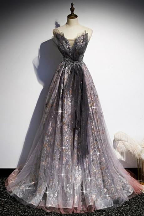 Gray Tulle Sequins Sweetheart Beading Prom Dress,PL1101