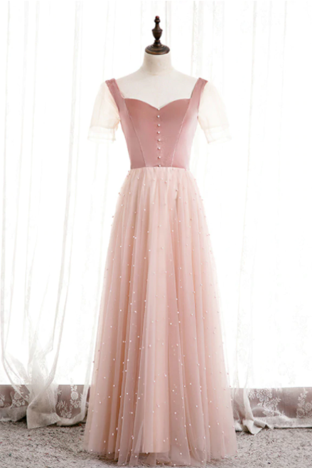 Pink Tulle Velvet Short Sleeve Square Pearls Prom Dress,PL1150