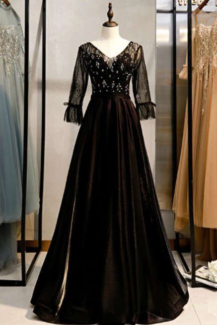 A-Line Black V-neck 3/4 Sleeve Crystal Prom Dress,PL1361