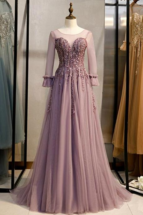 A-line Pink Tulle Long Sleeve Backless Beading Prom Dress,PL1364