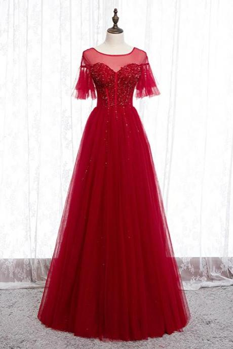 A-Line Burgundy Tulle Beading Sequins Long Prom Dress,PL1391