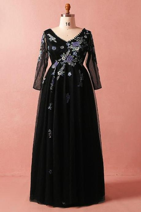 Plus Size Black Tulle Embroidery Long Sleeve V-neck Prom Dress,PL1450