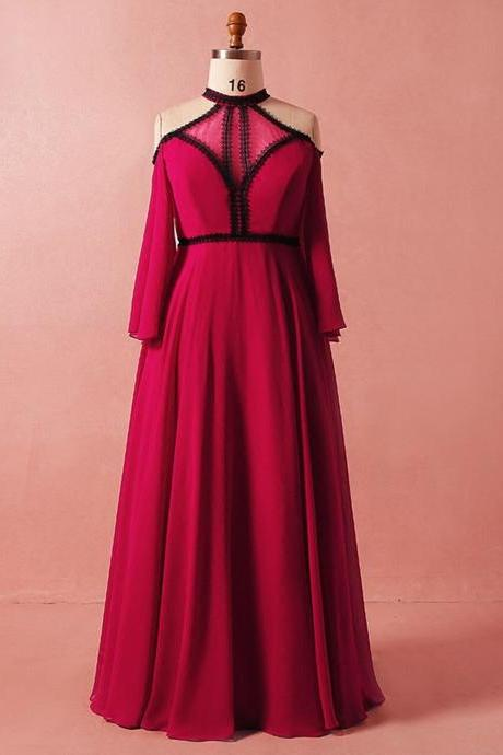 Plus Size Red Long Sleeve High Neck Backless High Waist Prom Dress,PL1452