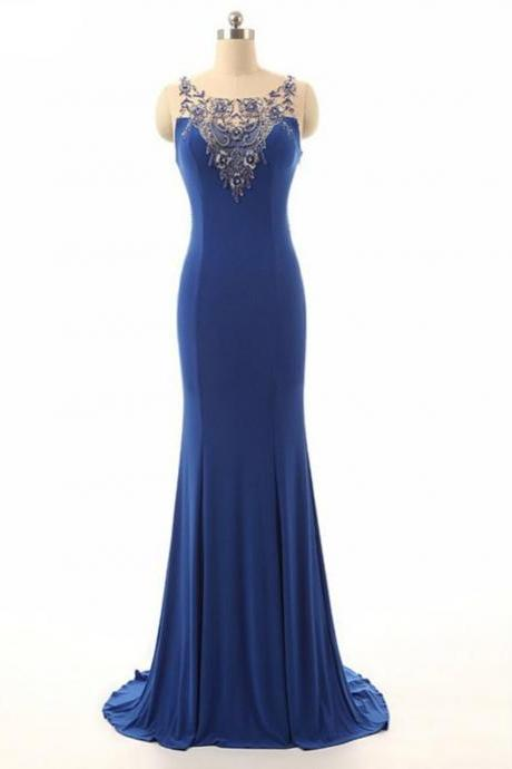 Royal Blue Beading Sheer Neck Mermaid Illusion Dress,PL1460