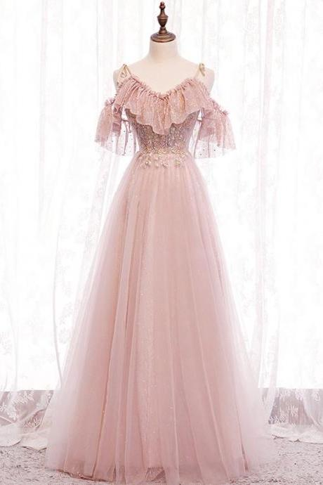 Pink v neck tulle lace long prom dress pink bridesmaid dress,PL1524